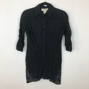 Bb Dakota xs black floral lace peplum tunic blouse
